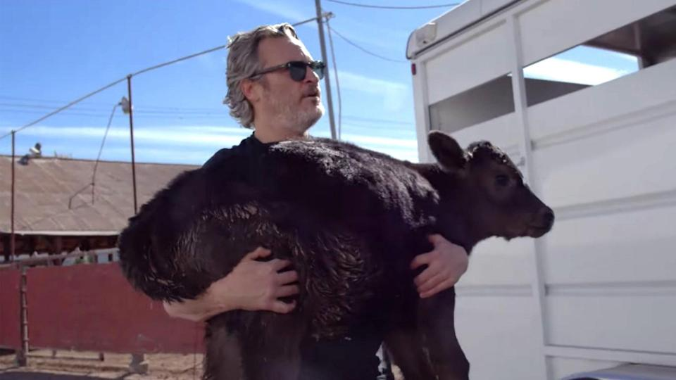 """<p>Holy cow! One day after advocating for animal rights during his Oscars <a href=""""https://people.com/movies/oscars-2020-best-actor-winner-joaquin-phoenix/"""" rel=""""nofollow noopener"""" target=""""_blank"""" data-ylk=""""slk:acceptance speech"""" class=""""link rapid-noclick-resp"""">acceptance speech</a> for Best Actor in February 2020, the <em>Joker</em> star made good on his word and <a href=""""https://people.com/pets/joaquin-phoenix-saves-cow-newborn-calf-from-slaughterhouse/"""" rel=""""nofollow noopener"""" target=""""_blank"""" data-ylk=""""slk:helped free a cow"""" class=""""link rapid-noclick-resp"""">helped free a cow</a> and her newborn calf from a Los Angeles slaughterhouse, transporting them to Farm Sanctuary.</p> <p>""""Oh my love,"""" the animal rights advocate said, personally unloading Liberty and baby Indigo from a truck and freeing them into a field.</p>"""