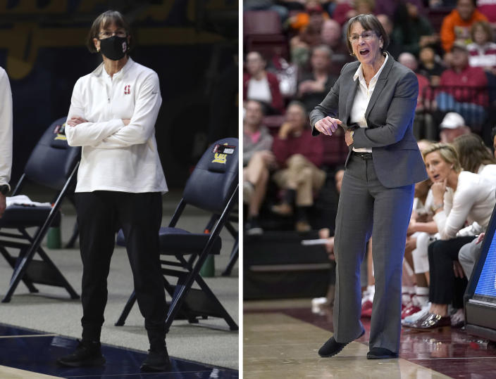 FILE - At left, in a Dec. 13, 2020, file photo, Stanford head coach Tara VanDerveer watches warmups before an NCAA college basketball game against California, in Berkeley, Calif. At right, in a Dec. 28, 2019, file photo, Stanford coach VanDerveer yells a play to her players during the first half against UC Davis in an NCAA college basketball game in Stanford, Calif. College basketball coaches have eschewed the traditional game day attire of coats, ties and dress slacks in favor of polos, quarter-zips and warmup pants. The trend started over the summer with NBA coaches who went casual when the league re-started its season at Walt Disney World resort near Orlando. (AP Photo/File)