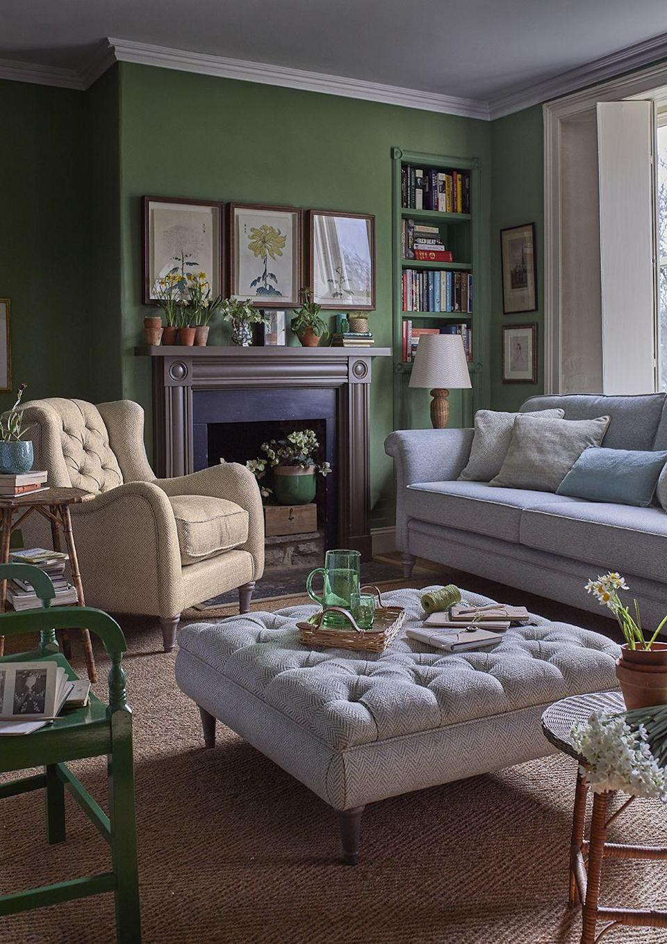 """<p>Grey and green are more frequently paired in darker variations, such as a graphite and forest green, but a crisp apple green is the perfect partner for a light grey. Use accents of warmer colours – creams or beige – to stop your green and grey colour scheme from becoming too cool. <br></p><p>Pictured: <a href=""""https://www.dfs.co.uk/woodstock/wdo14awpd"""" rel=""""nofollow noopener"""" target=""""_blank"""" data-ylk=""""slk:Country Living Woodstock Sofa, Footdstool, and Wing Chair at DFS"""" class=""""link rapid-noclick-resp"""">Country Living Woodstock Sofa, Footdstool, and Wing Chair at DFS</a></p>"""