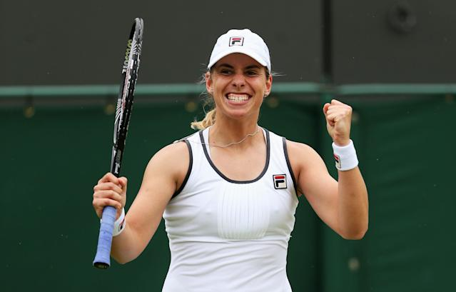 LONDON, ENGLAND - JUNE 27: Marina Erakovic of New Zealand celebrates match point during the Ladies' Singles second round match against Shuai Peng of China on day four of the Wimbledon Lawn Tennis Championships at the All England Lawn Tennis and Croquet Club on June 27, 2013 in London, England. (Photo by Clive Brunskill/Getty Images)