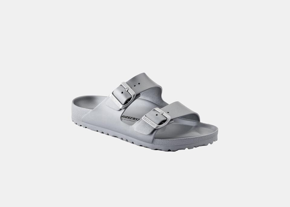 """Birkenstock's Arizona Essentials sandals may be the platonic ideal of a theme park shoe. They're lightweight but still provide arch support for killer 20,000-step days, won't get ruined in an unexpected downpour, and—dare we suggest—are more stylish than Crocs. $45, Birkenstock. <a href=""""https://www.birkenstock.com/us/arizona-eva/arizona-eva-eva-0-eva-u_6774.html"""" rel=""""nofollow noopener"""" target=""""_blank"""" data-ylk=""""slk:Get it now!"""" class=""""link rapid-noclick-resp"""">Get it now!</a>"""