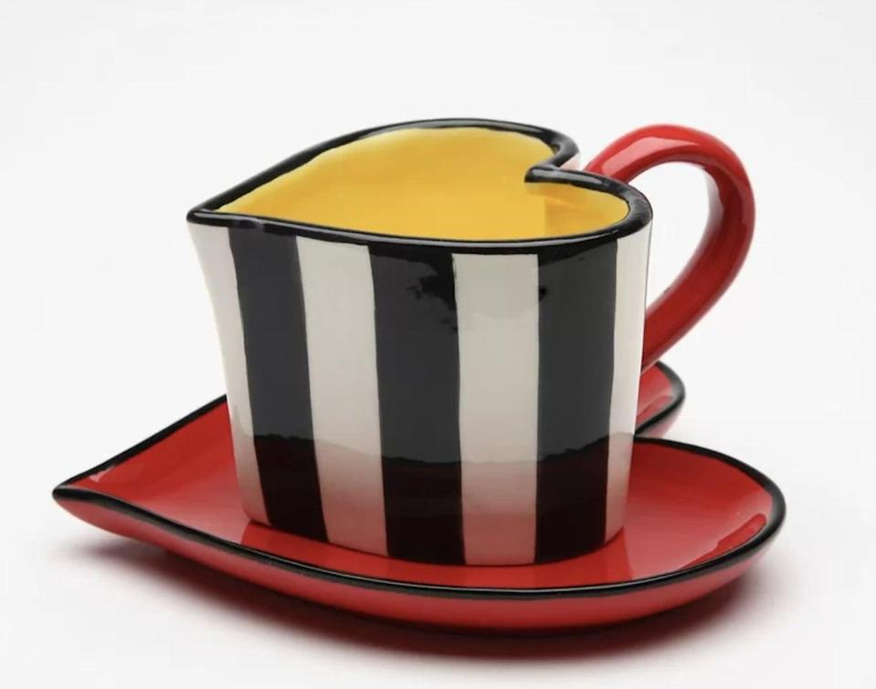<p>Sip your morning coffee or tea out of this adorable <span>Winston Porter Peguero Heart Shaped Striped Teacup &amp; Saucer</span> ($16, originally $24).</p>