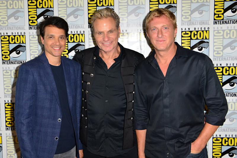 "SAN DIEGO, CALIFORNIA - JULY 18: (L-R) Ralph Macchio, Martin Kove and William Zabka attend ""Cobra Kai"" press line at Hilton Bayfront on July 18, 2019 in San Diego, California. (Photo by Jerod Harris/Getty Images)"