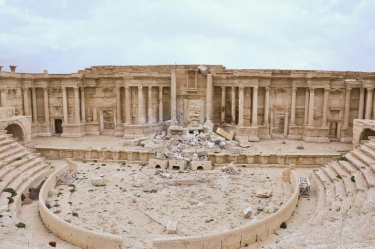 The damaged Roman amphitheatre in the ancient city of Palmyra after being recaptured by Syrian troops, backed by Russian jets, in March 2017