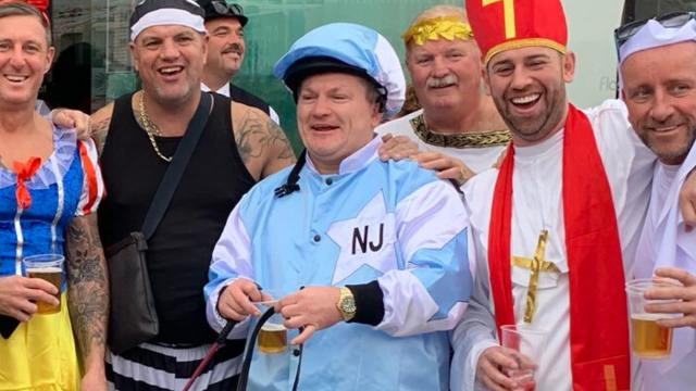 Hatton's outfit raised eyebrows in Benidorm (Twitter: @HitmanHatton)
