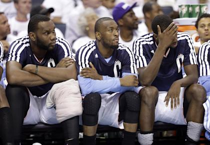 Will the Hornets be able to score when Al Jefferson (left) and Kemba Walker hit the bench? (AP/Chuck Burton)