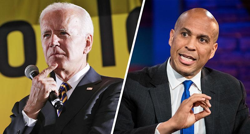 Former Vice President Joe Biden and Sen. Cory Booker, D-N.J. (Photos: Alex Wong/Getty Images, Sean Rayford/Getty Images)