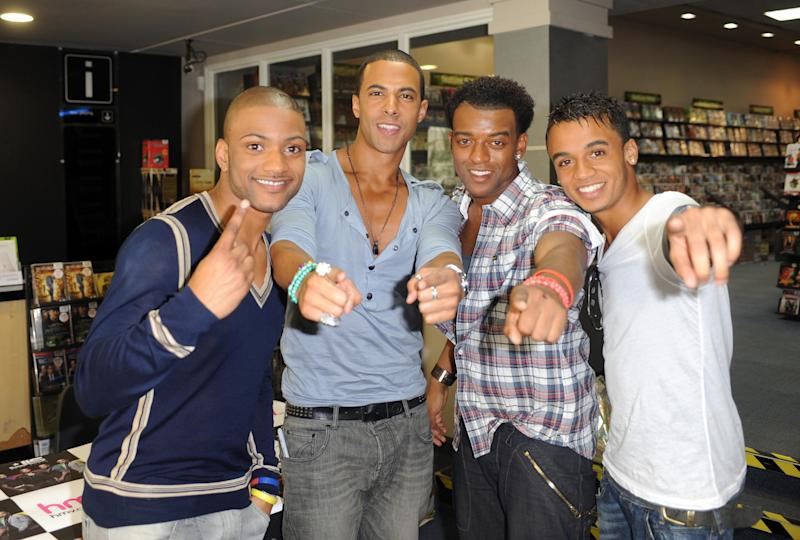 Former X Factor stars, (left - right) Oritse Williams, Jonathan 'JB' Gill, Marvin Humes and Aston Merrygold of JLS during a signing at HMV in Croydon, south London.