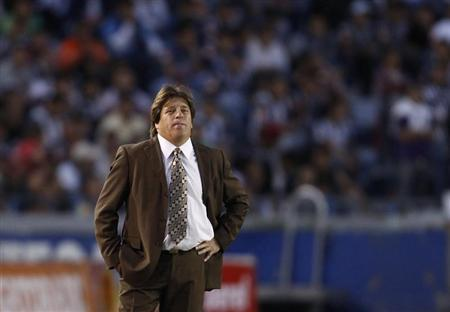 Atlante coach Miguel Herrera looks on during their Mexican league championship soccer match against Monterrey in Monterrey