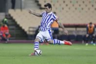 Real Sociedad's Mikel Oyarzabal scores his side's first goal with a penalty during the final of the 2020 Copa del Rey, or King's Cup, soccer match between Athletic Bilbao and Real Sociedad at Estadio de La Cartuja in Sevilla, Spain, Saturday April 3, 2021. The game is the rescheduled final of the 2019-2020 competition which was originally postponed due to the coronavirus pandemic. (AP Photo/Angel Fernandez)