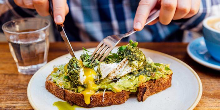 Egg and avocado with whole grains can be a healthy snack for diabetics.