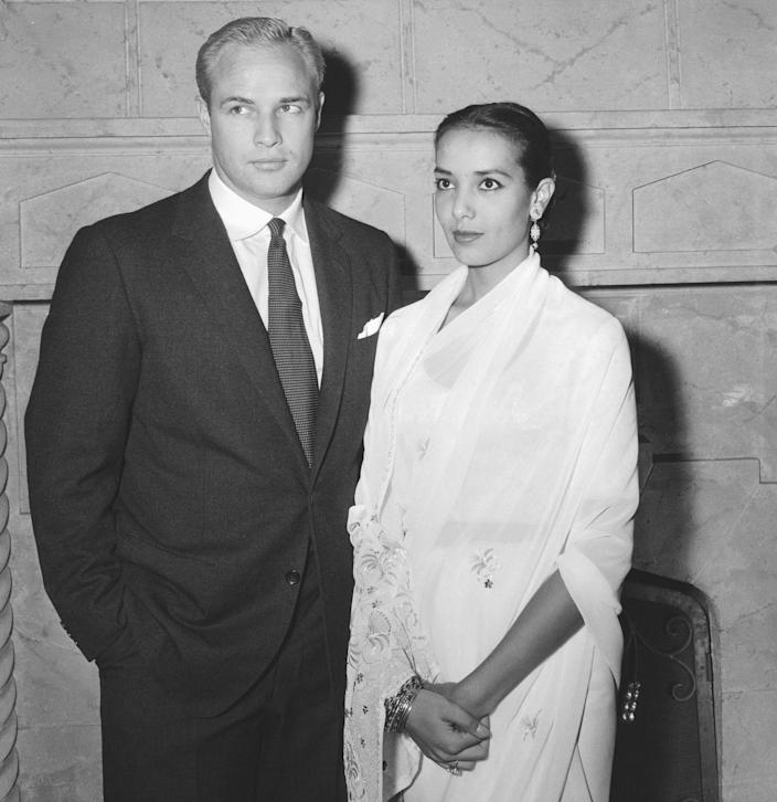 <p>Marlon Brando and Anna Kashfi eloped in a private ceremony in California in 1957. The couple was married for one year, but separated after welcoming their son in 1958. </p>