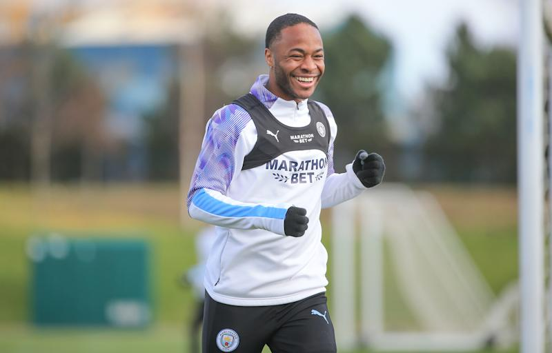MANCHESTER, ENGLAND - MARCH 12: Manchester City's Raheem Sterling in action during training at Manchester City Football Academy on March 12, 2020 in Manchester, England. (Photo by Tom Flathers/Manchester City FC via Getty Images)