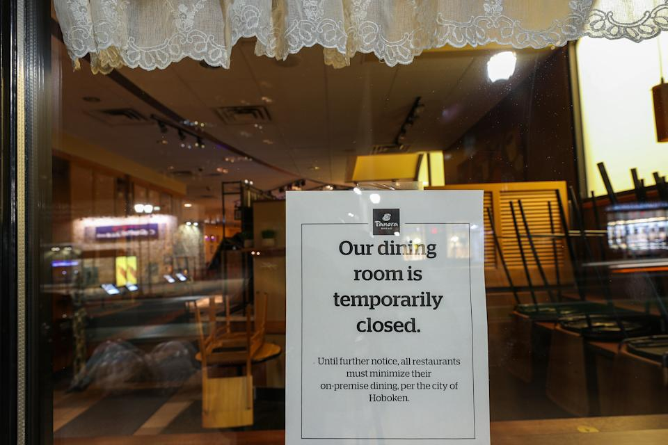 NEW JERSEY, USA - MARCH 16: Bars and restaurants are closed that on the Hobokenâs busy street in New Jersey, United States on March 16, 2020. New Jersey residents were told on Monday that they should not go out from 8 p.m. to 5 a.m. as Gov. Phil Murphy recommended a statewide curfew as coronavirus ( Covid-19) pandemic. (Photo by Tayfun Coskun/Anadolu Agency via Getty Images)