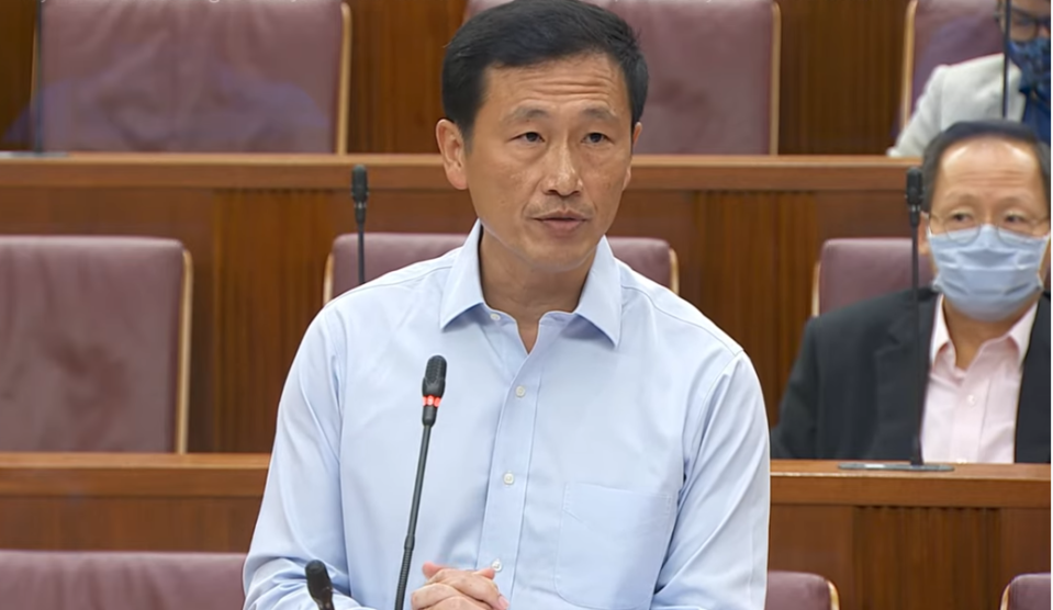 Transport Minister Ong Ye Kung addresses Parliament during the Committee of Supply debate on Wednesday, 3 March 2021. (SCREENGRAB: Ministry of Communications and Information YouTube channel)