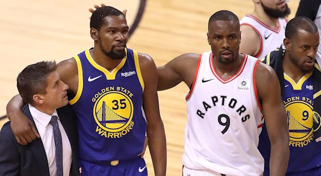 Kevin Durant really wanted to score on Serge Ibaka leading up to his devastating injury. (Photo by Claus Andersen/Getty Images)