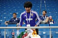 <p>Japan's supporter picking up litter after their 2018 FIFA World Cup Round of 16 football match against Belgium at Rostov Arena Stadium. Team Belgium won the game 3:2. Valery Sharifulin/TASS (Photo by Valery Sharifulin\TASS via Getty Images) </p>