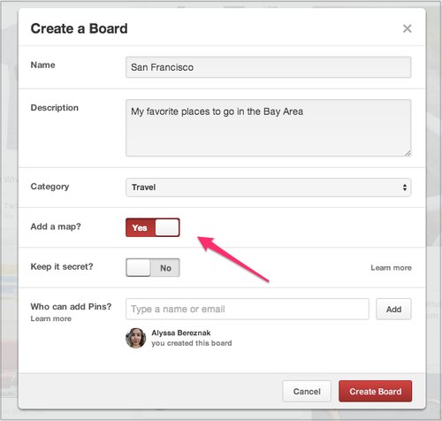 Pinterest 'Add a map' setting