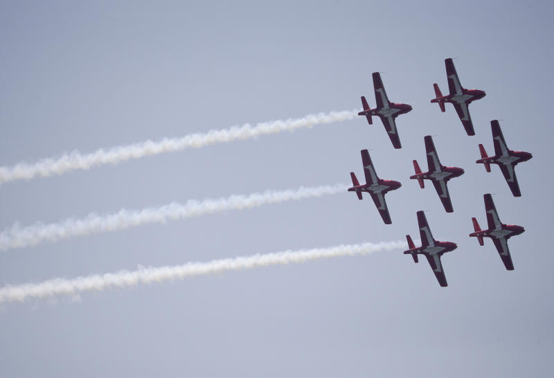 The Royal Canadian Air Force Snowbirds demonstration team flies in formation during the 13th Annual Bethpage Air Show, Saturday, May 28, 2016, at Jones Beach in Wantagh, N.Y. (AP Photo/Julie Jacobson)