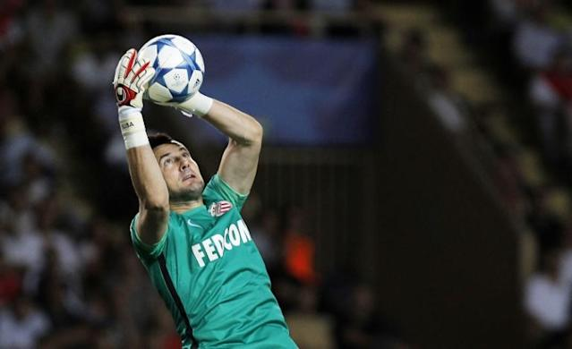 Monaco's Croatian goalkeeper Danijel Subasic catches the ball during the UEFA Champions League playoff football match between AS Monaco FC vs Valencia CF, at the Louis II Stadium, in Monaco, on August 25, 2015