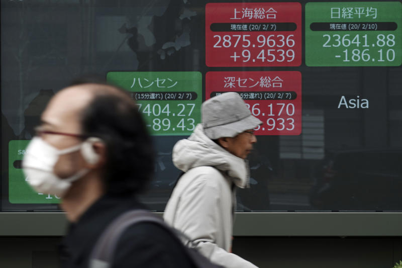 People walk past an electronic stock board showing Japan's Nikkei 225 index and other Asian country index at a securities firm in Tokyo Monday, Feb. 10, 2020. Asian stock markets slid Monday after China reported an uptick in new cases of its virus outbreak and analysts warned optimism the disease is under control might be premature. (AP Photo/Eugene Hoshiko)
