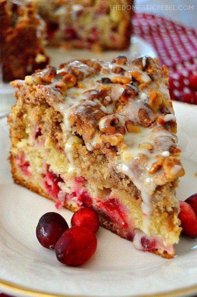 "<strong>Get the recipe for <a href=""https://thedomesticrebel.com/2016/11/18/cranberry-walnut-crumb-cake/"" target=""_blank"">Cranberry Walnut Crumb Cake</a> from Domestic Rebel</strong>"