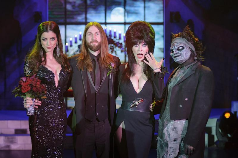 LeeAnna and Cameron Vamp decided to get hitched with the help of Elvira on Oct. 3 at Knott's Scary Farm.