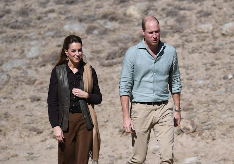 KHYBER PAKHUNKWA, PAKISTAN - OCTOBER 16: Prince William, Duke of Cambridge and Catherine, Duchess of Cambridge visit the Chiatibo glacier in the Hindu Kush mountain range on October 16, 2019 in the Chitral District of Khyber-Pakhunkwa Province, Pakistan. They spoke with a an expert about how climate change is impacting glacial landscapes. The Cambridge's are engaging in a royal tour of Pakistan from 14th -18th October. (Photo by Pool/Samir Hussein/WireImage)