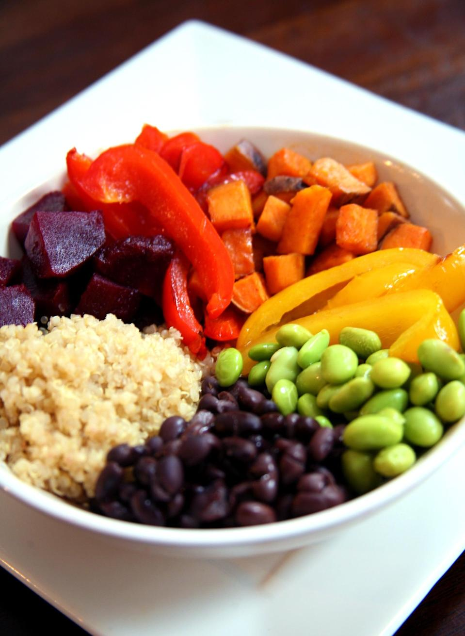 "<p>Aim to eat at least three <a href=""https://www.popsugar.com/fitness/Rainbow-Meal-Guide-36724547"" class=""link rapid-noclick-resp"" rel=""nofollow noopener"" target=""_blank"" data-ylk=""slk:brightly-colored foods at every meal"">brightly-colored foods at every meal</a>. Their vibrant hue means they're high in vitamins and antioxidants. </p>"