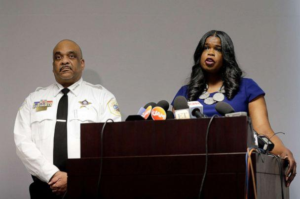 PHOTO: Cook County State's Attorney Kim Foxx, right, speaks at a news conference as Chicago Police Superintendent Eddie Johnson listens in Chicago, Feb. 22, 2019. (Kiichiro Sato/AP, FILE)
