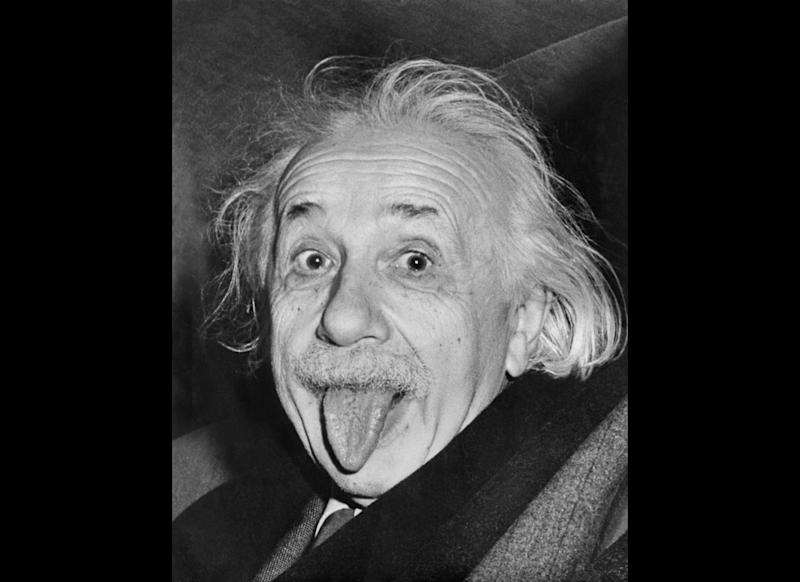 Celebrated picture dated 18 march 1951, shows German-born Swiss-US physicist Albert Einstein (1879-1955), awarded the Nobel Prize for Physics in 1921, sticking out his tongue at photographers on his 72nd birthday. AFP ARTHUR SASSE (Photo credit should read ARTHUR SASSE/AFP/Getty Images)