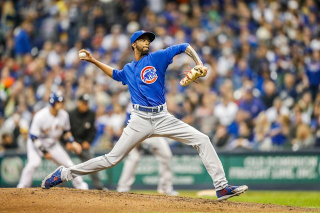 Chicago Cubs pitcher Carl Edwards Jr. (6) during the first game of a three game home series between the Milwaukee Brewers and the Chicago Cubs on April 5, 2019, at Miller Park in Milwaukee, WI. (Getty Images)