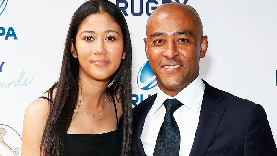 George Gregan and his daughter, pictured here at the 2019 Rugby Australia Awards.