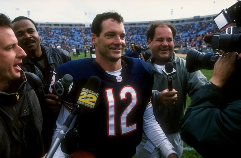4 Oct 1998: Quarterback Erik Kramer #12 of the Chicago Bears talks to reporters following a game against the Detroit Lions at Soldier Field in Chicago, Illinois. The Bears defeated the Lions 31-27.