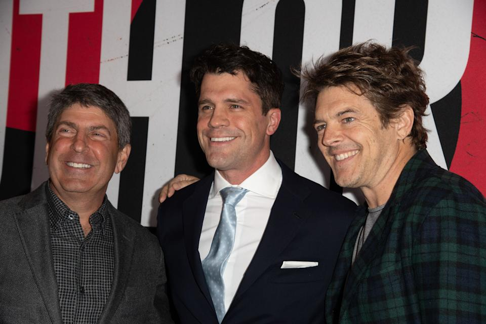 "HOLLYWOOD, CA - APRIL 12:  (L-R) Jeff Snell, Jeff Wadlow and Jason Blum attend the premiere of Universal Pictures ""Blumhouse's Truth Or Dare"" at ArcLight Cinemas Cinerama Dome on April 12, 2018 in Hollywood, California.  (Photo by Earl Gibson III/Getty Images)"
