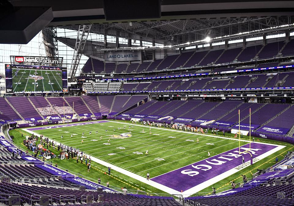 MINNEAPOLIS, MN - SEPTEMBER 13: The opening kick-off in a building void of fans during a National Football League game between the Minnesota Vikings and Green Bay Packers on September 13, 2020, at US Bank Stadium, Minneapolis, MN.(Photo by Nick Wosika/Icon Sportswire via Getty Images)