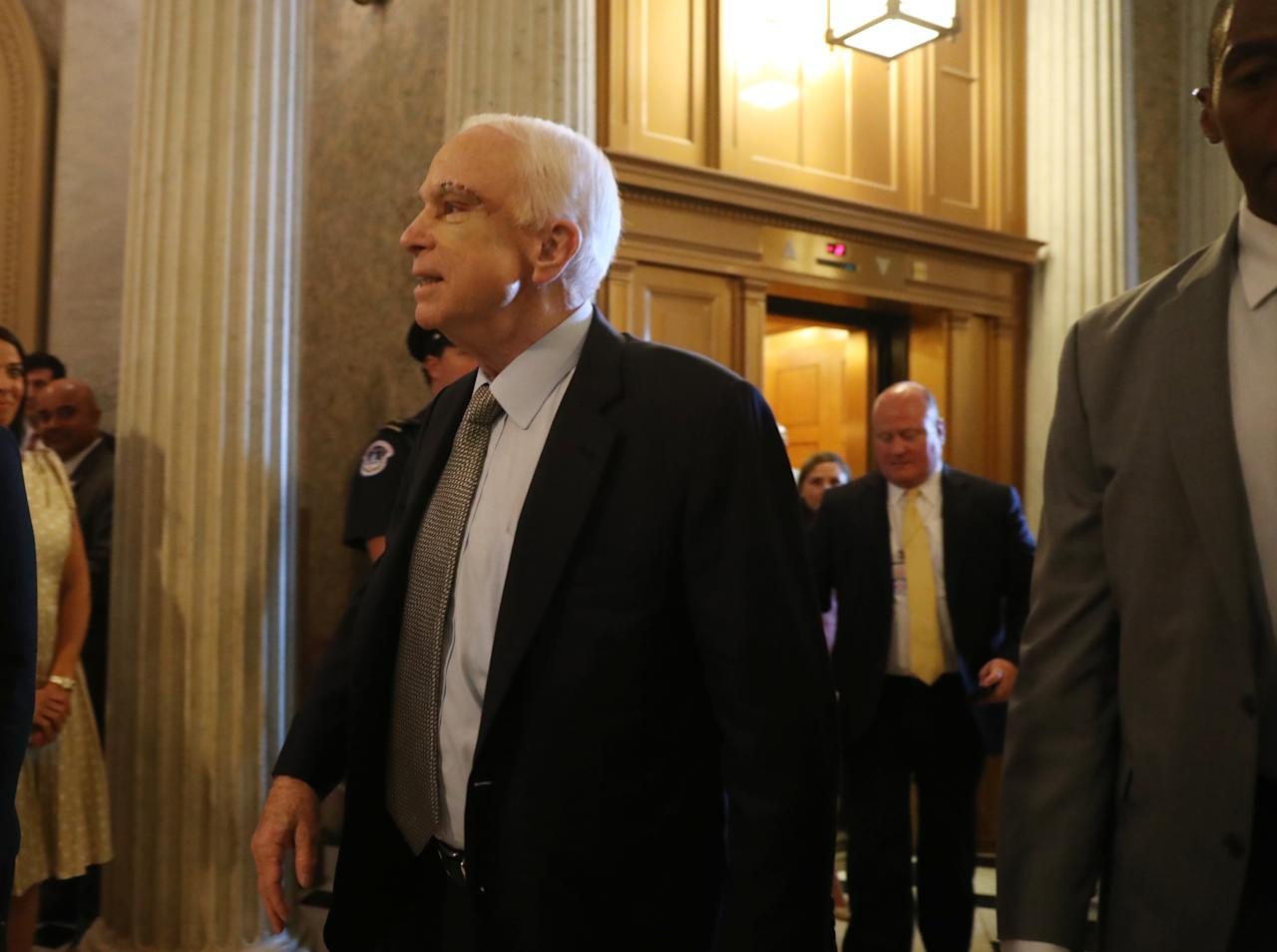 <p> Sen. John McCain, R-Ariz. arrives on Capitol Hill in Washington, Tuesday, July 25, 2017, as the Senate was to vote on moving head on health care with the goal of erasing much of Barack Obama's law. (AP Photo/Andrew Harnik) </p>