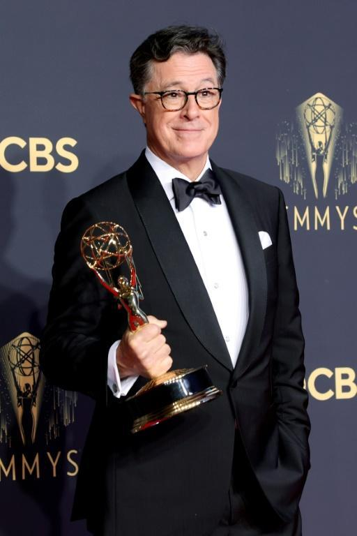 Late night host Stephen Colbert offered some California politics humor at the Emmys (AFP/Rich Fury)