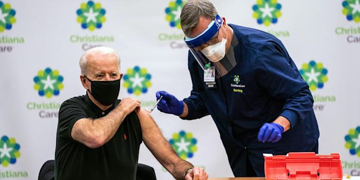 Joe Biden receives the second dose Covid-19 vaccination shot at the ChristianaCare Hospital in Newark, DE on January 11, 2021.