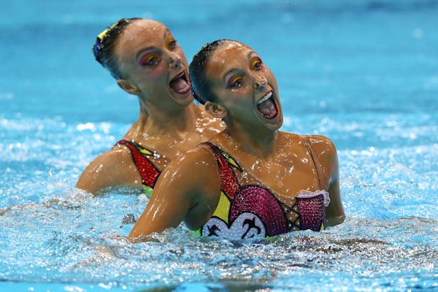 LONDON, ENGLAND - AUGUST 07: Gagnon Boudreau and Elise Marcotte of Canada compete in the Women's Duets Synchronised Swimming Free Routine Final on Day 11 of the London 2012 Olympic Games at the Aquatics Centre on August 7, 2012 in London, England. (Photo by Clive Rose/Getty Images)