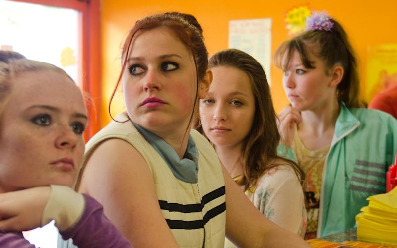 Ellie Lightfoot, Ria Zmitrowicz, Molly Windsor and Liv Hill in Three Girls - Credit: Parisa Taghizadeh