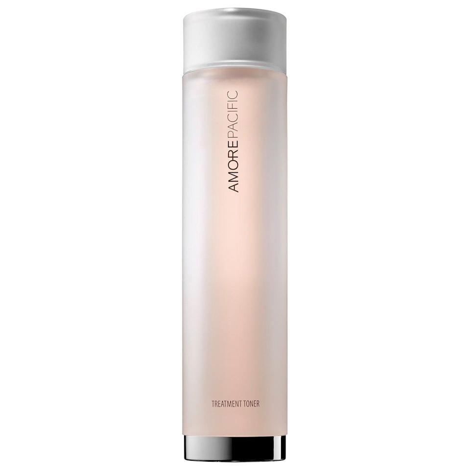 """<p>This soothing <a href=""""https://www.popsugar.com/buy/Amorepacific-Treatment-Toner-572842?p_name=Amorepacific%20Treatment%20Toner&retailer=sephora.com&pid=572842&price=50&evar1=bella%3Aus&evar9=47461551&evar98=https%3A%2F%2Fwww.popsugar.com%2Fbeauty%2Fphoto-gallery%2F47461551%2Fimage%2F47461577%2FAmorepacific-Treatment-Toner&list1=sephora%2Cdry%20skin%2Cacne%2Csensitive%20skin%2Cbeauty%20shopping%2Cskin%20care&prop13=mobile&pdata=1"""" class=""""link rapid-noclick-resp"""" rel=""""nofollow noopener"""" target=""""_blank"""" data-ylk=""""slk:Amorepacific Treatment Toner"""">Amorepacific Treatment Toner</a> ($50) balances skin's pH while also calming it at the same time. Working hard inside are red ginseng (to revitalize), arnica (to soothe redness), and water lily extract (to purify) - plus, it makes a great pre-serum primer, too.</p>"""