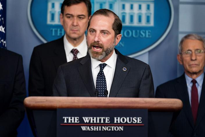 Secretary of Health and Human Services Alex Azar speaks during a press briefing on the coronavirus, in the briefing room of the White House, Friday, Jan. 31, 2020, in Washington.