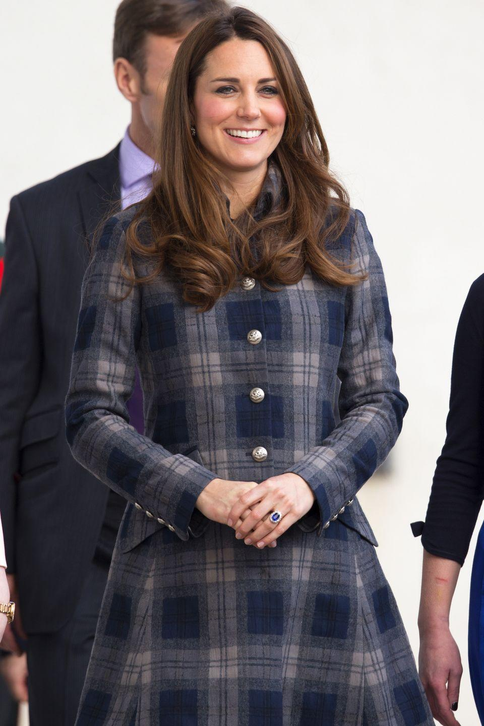 <p>Kate Middleton also loves bundling up in plaid once the weather cools off.</p>