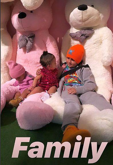 Khloe Kardashian captured this shot on her Instagram story of daughter True and Kourtney Kardashian's son, Mason Disick, 9 at Stormi's birthday party.