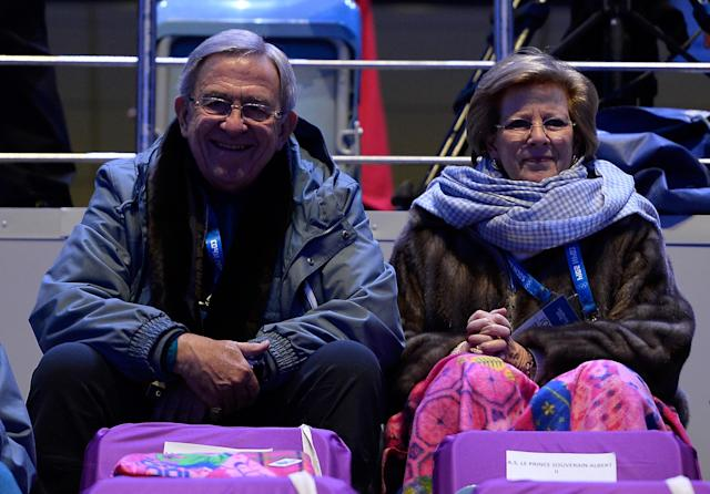 SOCHI, RUSSIA - FEBRUARY 07: King Constantine of Greece and Queen Anne-Marie of Greece watch the Opening Ceremony of the Sochi 2014 Winter Olympics at Fisht Olympic Stadium on February 7, 2014 in Sochi, Russia. (Photo by Pascal Le Segretain/Getty Images)