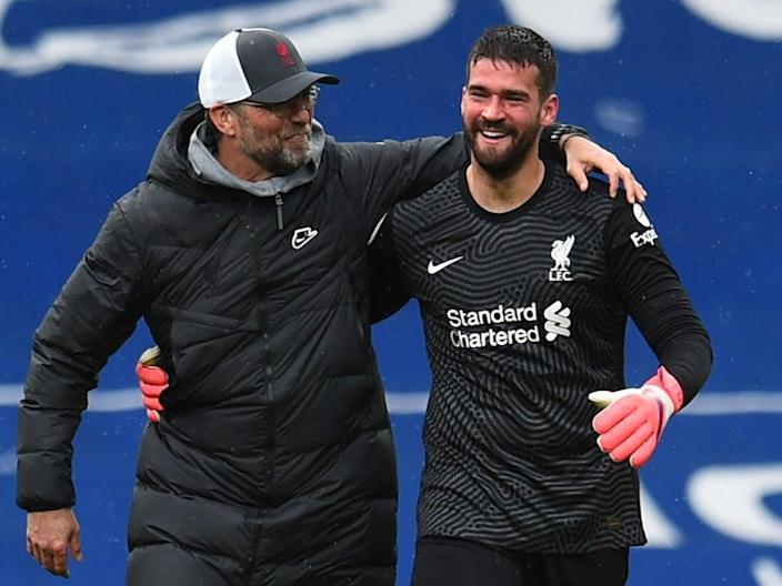 Jurgen Klopp reacts to 'insane' goal from goalkeeper Alisson as Liverpool keep top-four hopes alive