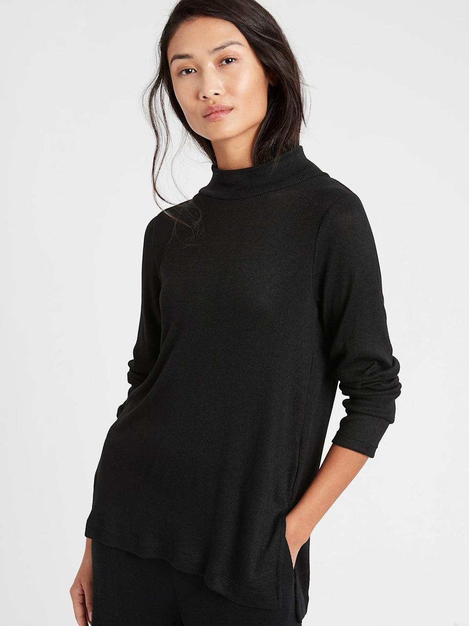 <p>We'd pair this <span>Banana Republic Cozy Ribbed Tunic</span> ($40-$46, originally $60) with leggings for a casual weekend look.</p>