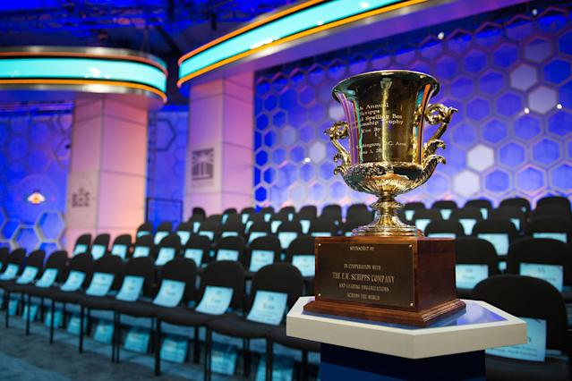 <p>The 90th Scripps National Spelling Bee trophy is displayed onstage prior to the start of preliminary rounds in Oxon Hill, Md., Wednesday, May 31, 2017. (AP Photo/Cliff Owen) </p>
