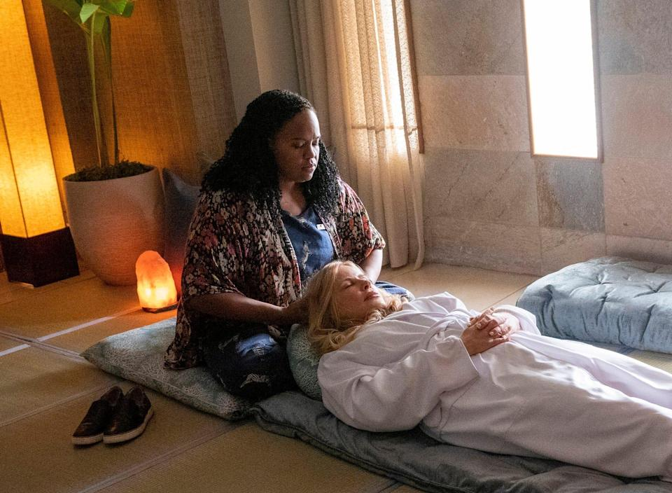 """Natasha Rothwell and Jennifer Coolidge in a scene from HBO's comedy, """"The White Lotus."""""""